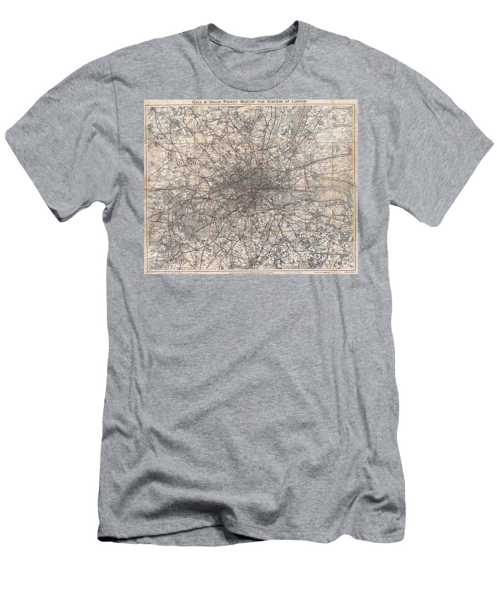 :1900 Gall And Inglis' Map Of London And Environs Men's T-Shirt (Athletic Fit) featuring the photograph 1900 Gall And Inglis' Map Of London And Environs by Paul Fearn