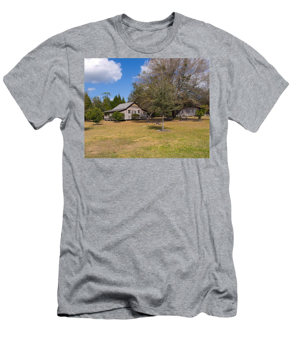Cabin Men's T-Shirt (Athletic Fit) featuring the photograph 1927 Woods Home In Christmas Florida by Allan Hughes
