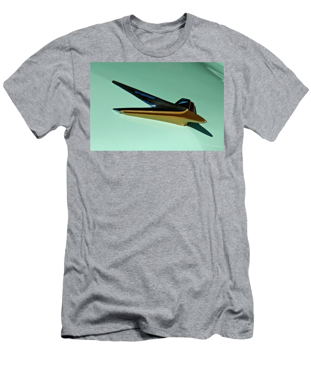 1955 Studebaker Men's T-Shirt (Athletic Fit) featuring the photograph 1955 Studebaker Hood Ornament by Jill Reger
