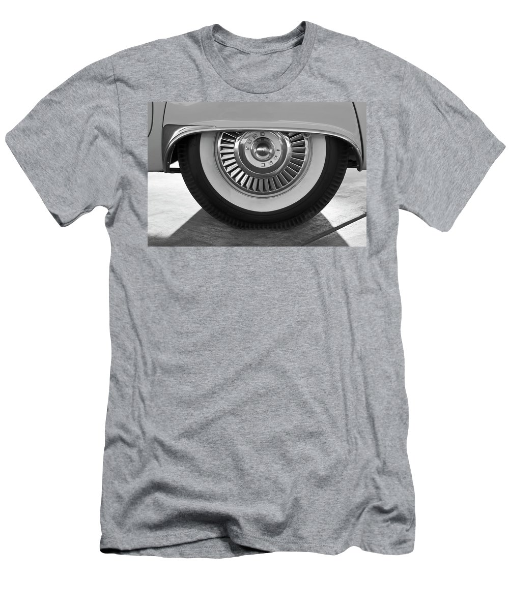 1957 Ford Thunderbird Men's T-Shirt (Athletic Fit) featuring the photograph 1957 Ford Thunderbird Wheel 3 by Jill Reger