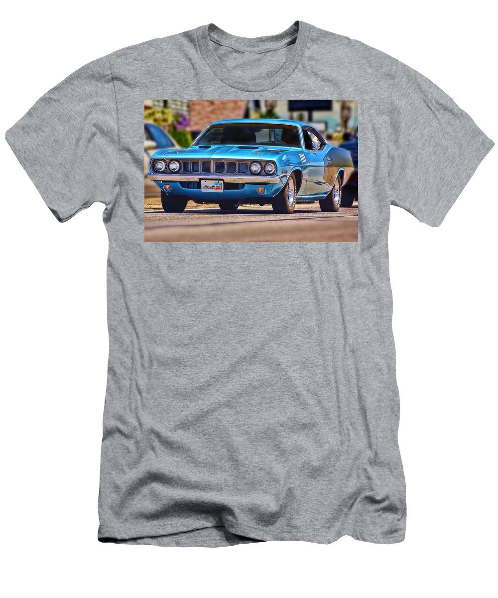 Blue Men's T-Shirt (Athletic Fit) featuring the photograph 1971 Plymouth 'cuda 383 by Gordon Dean II