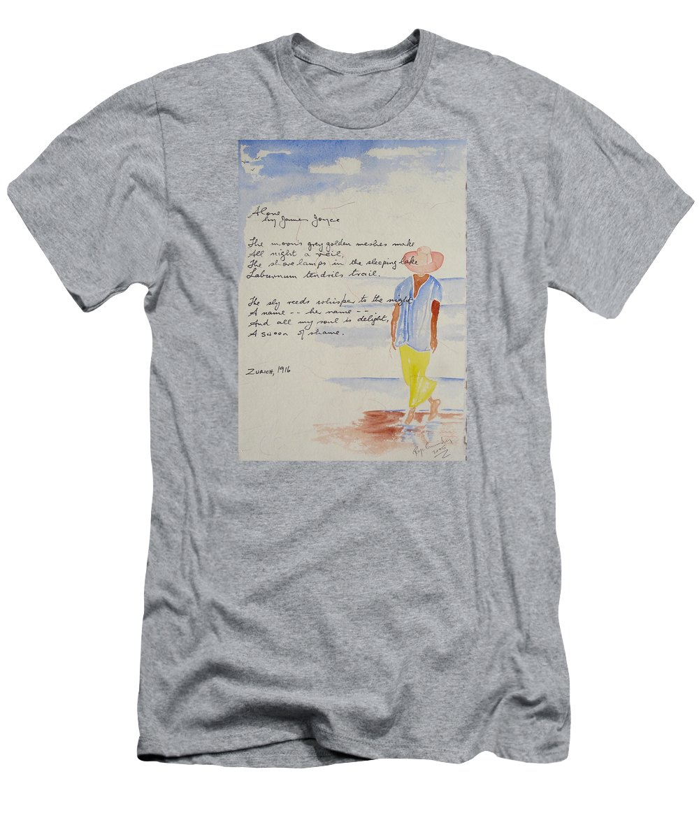 Love Heart Valentines Men's T-Shirt (Athletic Fit) featuring the painting Alone by Roger Cummiskey