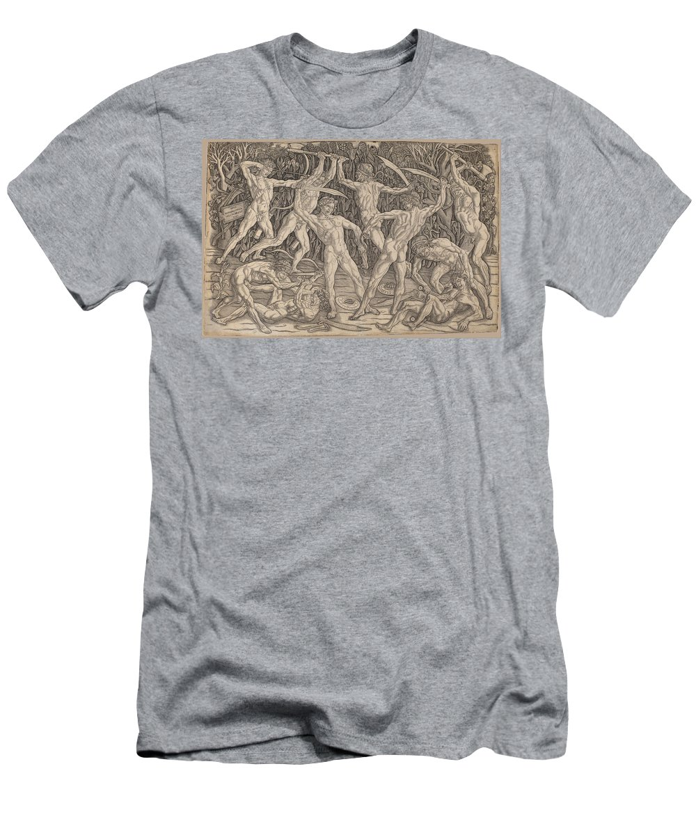 Antonio Del Pollaiuolo Men's T-Shirt (Athletic Fit) featuring the drawing Battle Of The Nudes by Antonio del Pollaiuolo