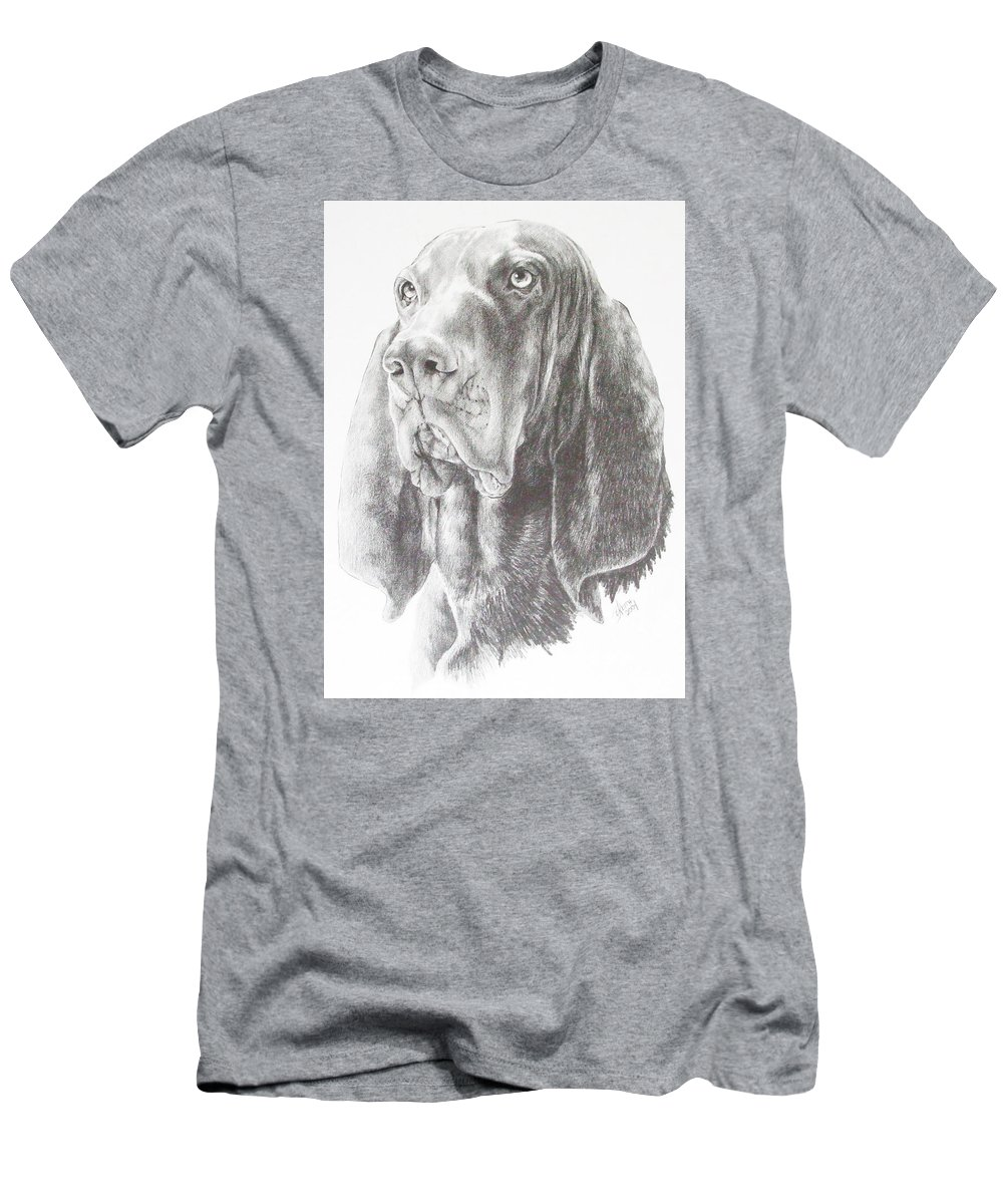 Purebred Dogs Men's T-Shirt (Athletic Fit) featuring the drawing Black And Tan Coonhound by Barbara Keith