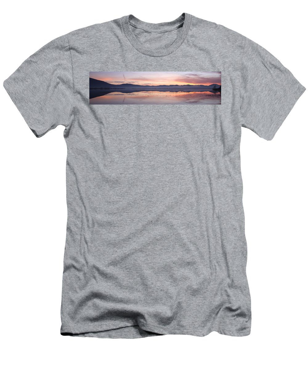 Lake Men's T-Shirt (Athletic Fit) featuring the photograph Cerknica Lake At Dawn by Ian Middleton