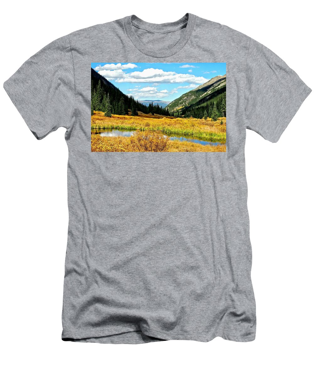Landscape Men's T-Shirt (Athletic Fit) featuring the photograph Colorado Mountain Lake In Fall by Amy McDaniel