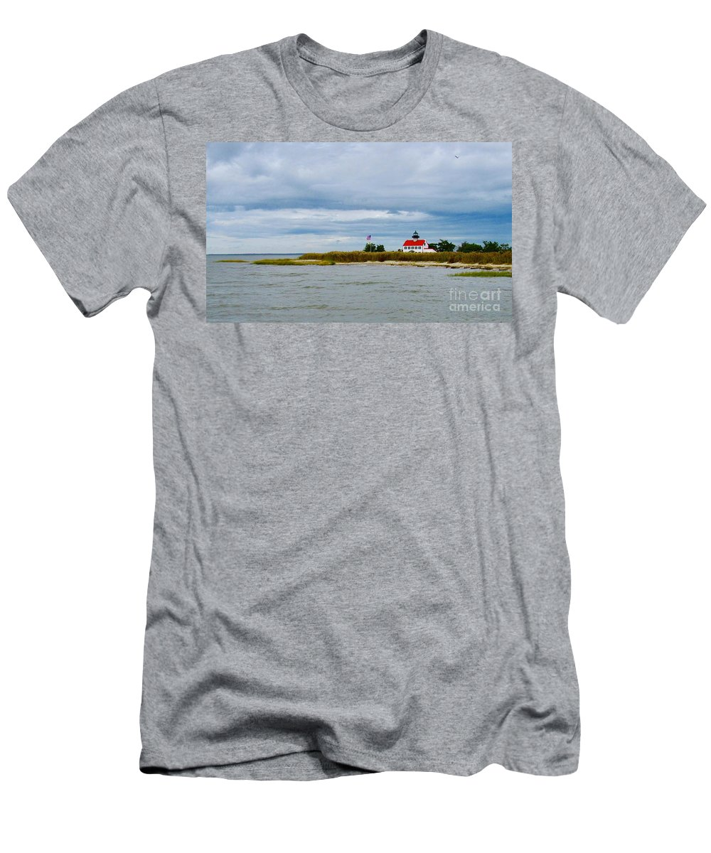East Point Lighthouse Men's T-Shirt (Athletic Fit) featuring the photograph East Point Lighthouse by Nancy Patterson