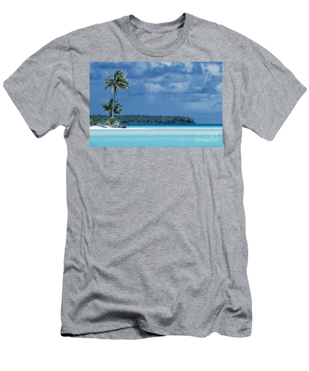 Beach Men's T-Shirt (Athletic Fit) featuring the photograph French Polynesia, Tetiaro by Larry Dale Gordon - Printscapes