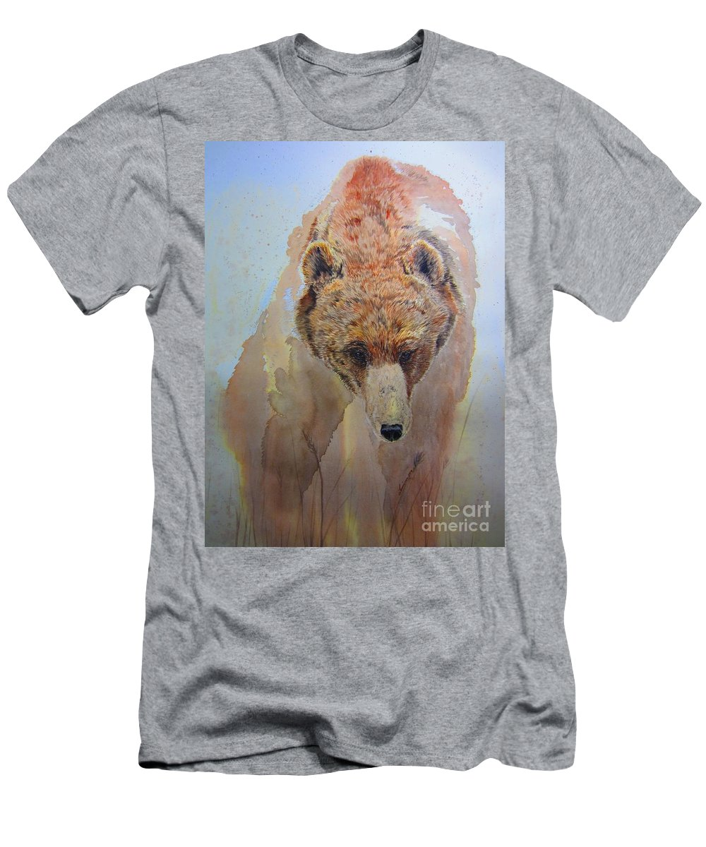 Grizzly Bear Men's T-Shirt (Athletic Fit) featuring the painting Grizzly by Laurianna Taylor