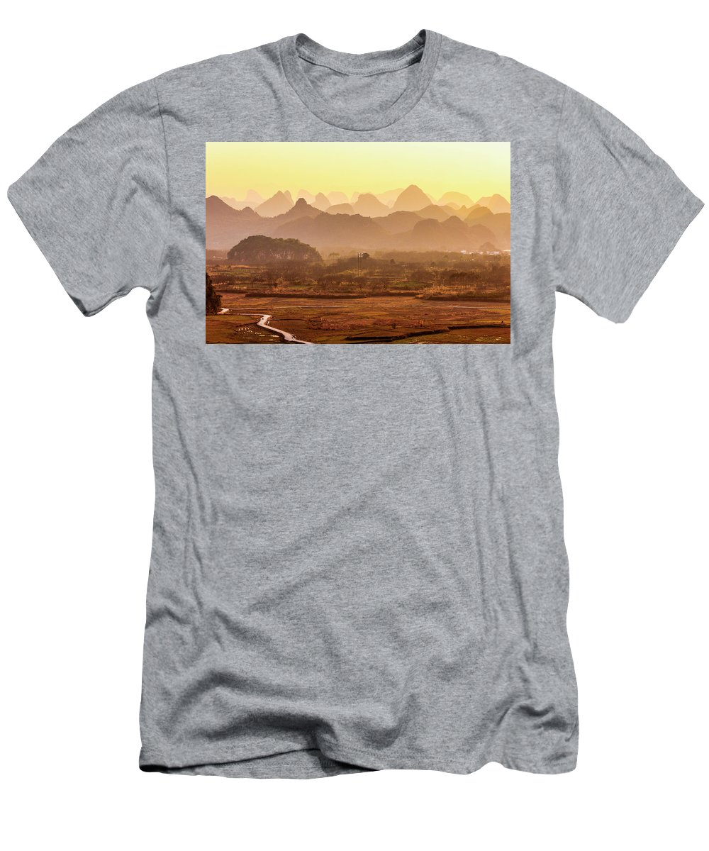 Karst Men's T-Shirt (Athletic Fit) featuring the photograph Karst Mountains Scenery In Sunset by Carl Ning