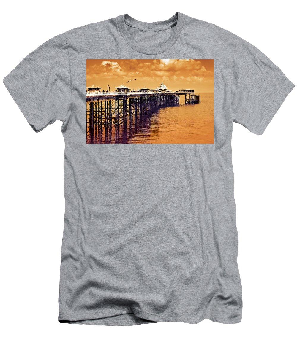 Llandudno Men's T-Shirt (Athletic Fit) featuring the photograph Llandudno Pier North Wales Uk by Mal Bray