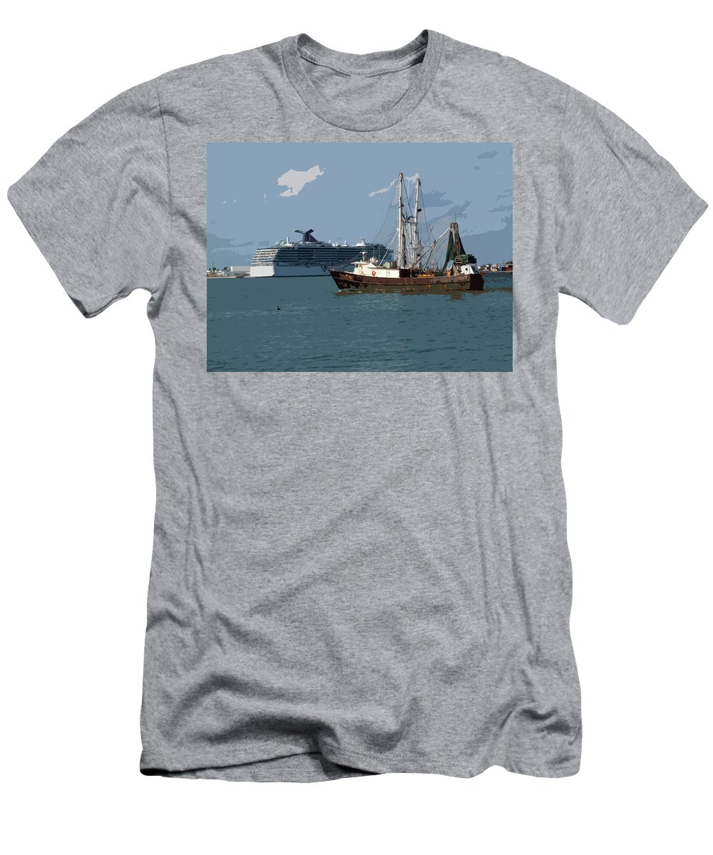 Florida Men's T-Shirt (Athletic Fit) featuring the painting Port Canaveral In Florida Usa by Allan Hughes