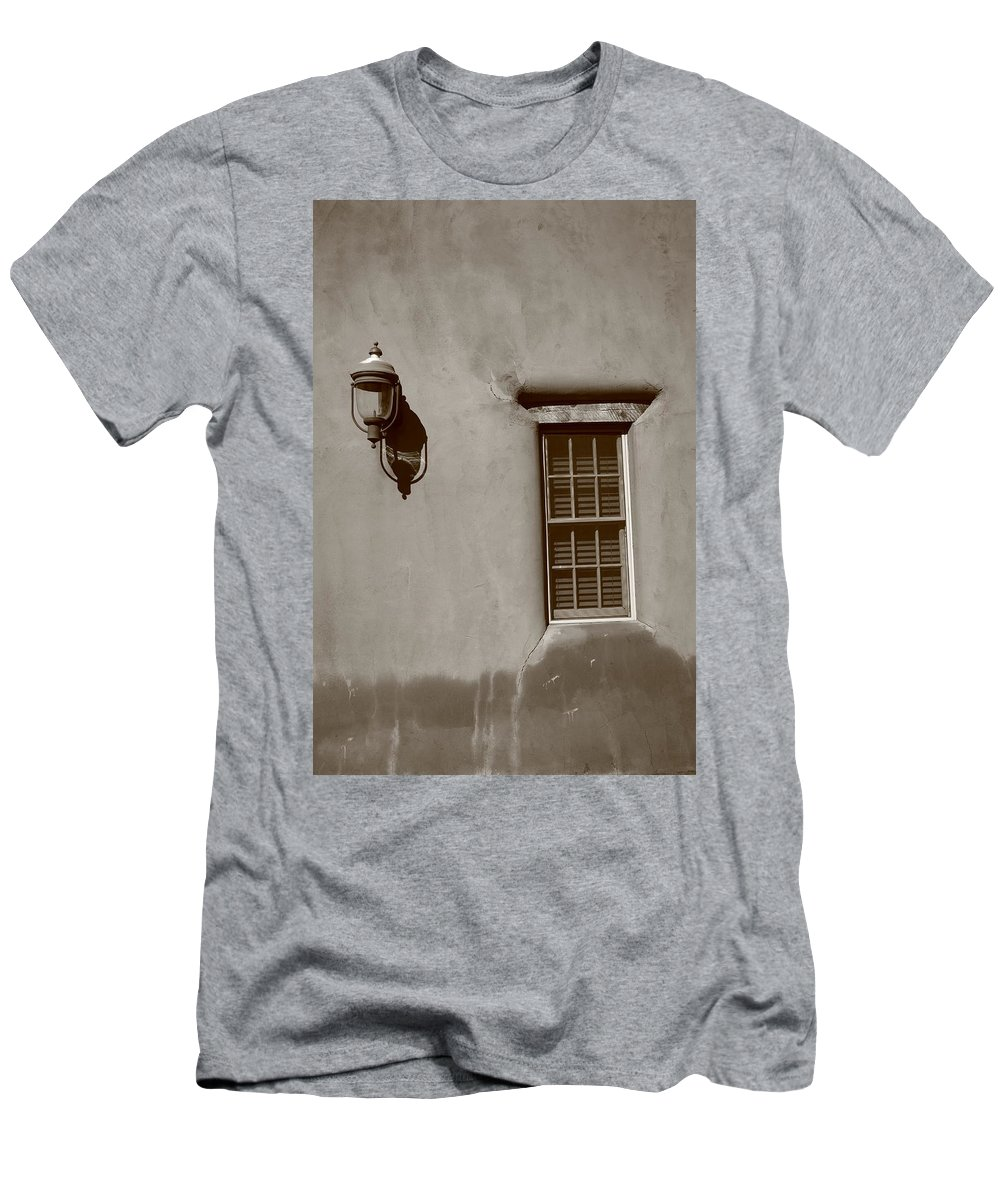 Adobe Men's T-Shirt (Athletic Fit) featuring the photograph Santa Fe - Adobe Window And Light by Frank Romeo