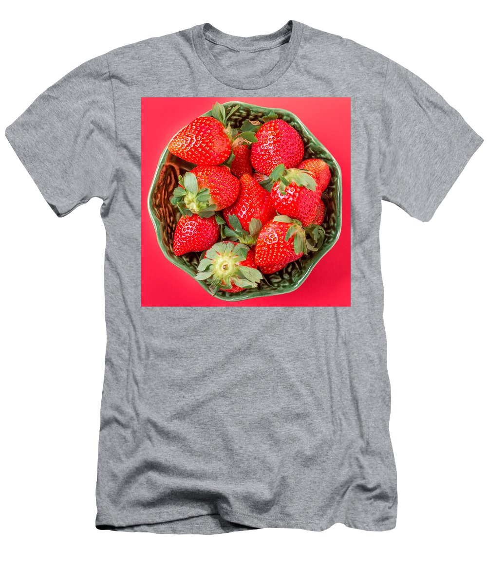 Above Men's T-Shirt (Athletic Fit) featuring the photograph Strawberries In A Wooden Bowl On The Old Wooden Table by Tat Fung