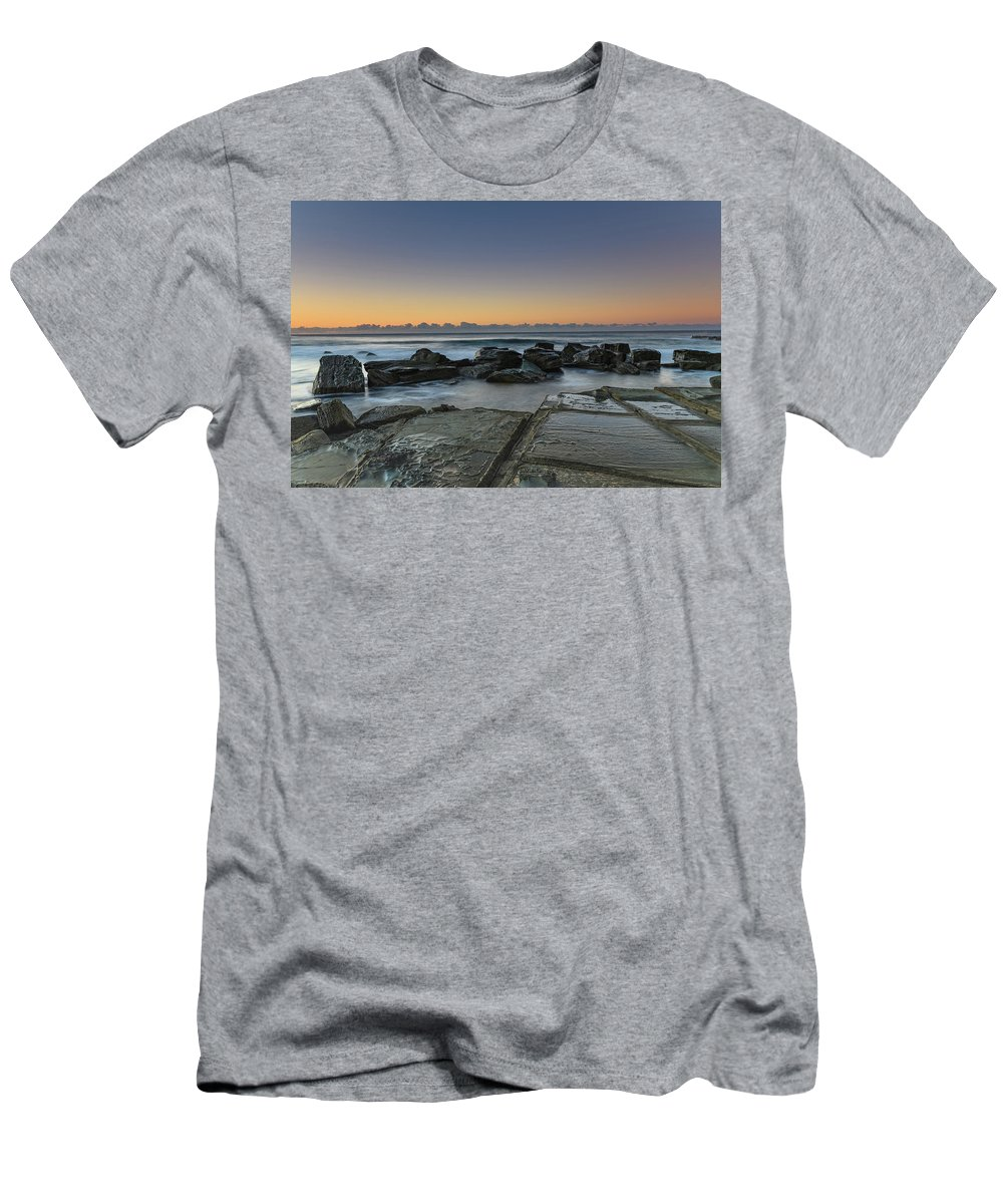 Australia Men's T-Shirt (Athletic Fit) featuring the photograph Tessellated Rock Platform And Seascape by Merrillie Redden