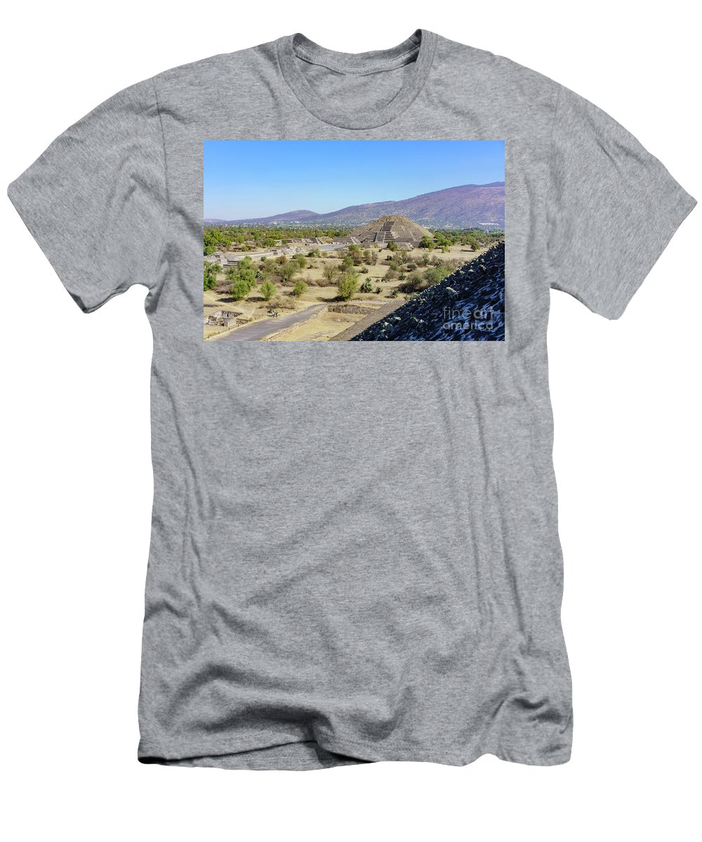 Avenue Of The Dead Men's T-Shirt (Athletic Fit) featuring the photograph The Famous Pyramid Of The Moon by Chon Kit Leong