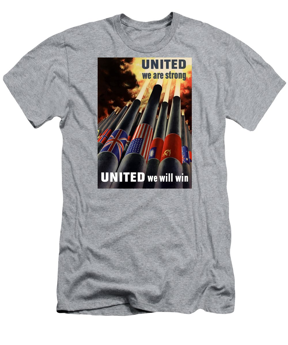 Military Men's T-Shirt (Athletic Fit) featuring the painting The United Nations Fight For Freedom by War Is Hell Store