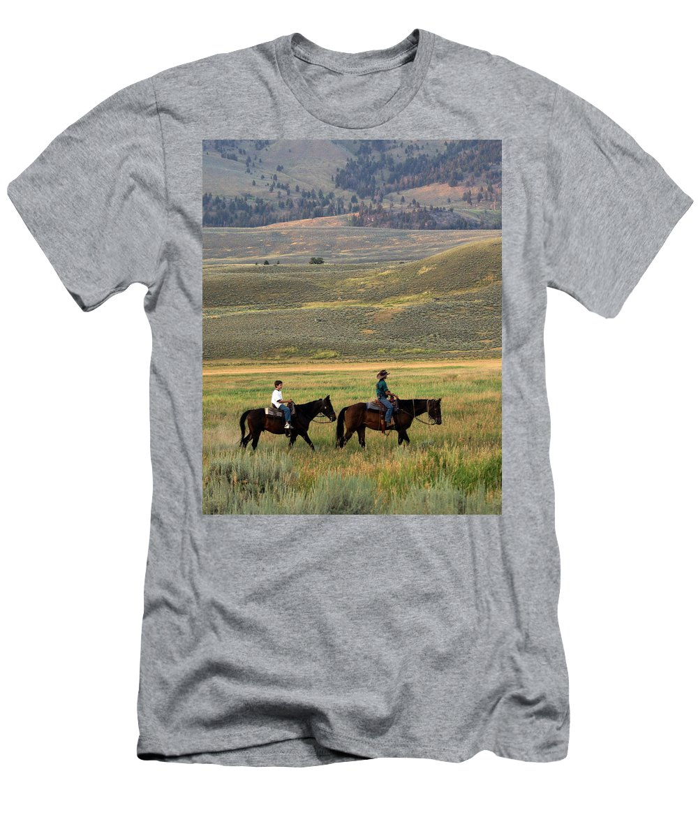 Horse Men's T-Shirt (Athletic Fit) featuring the photograph Trail Ride by Marty Koch