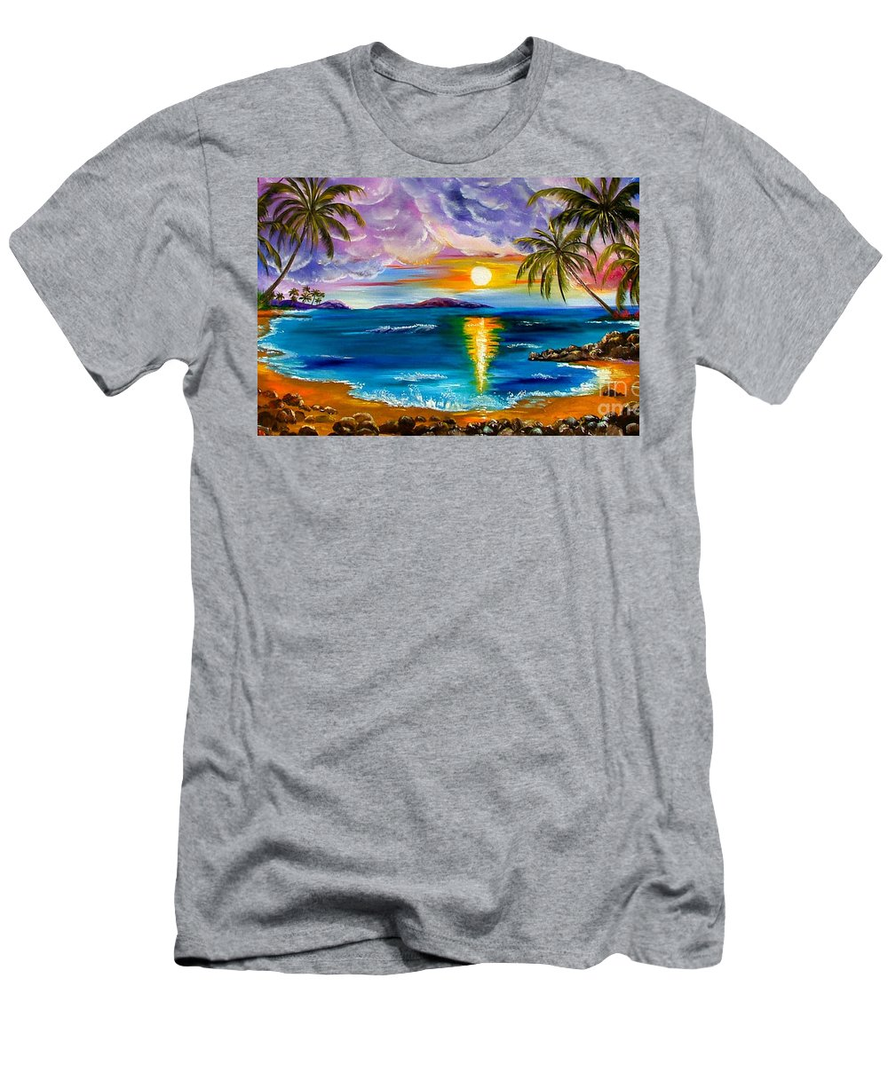 Hawaii Men's T-Shirt (Athletic Fit) featuring the painting Tropical Sunset by Inna Montano