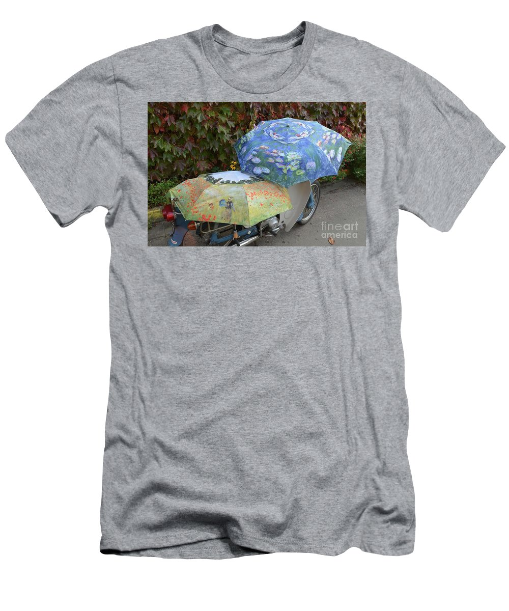 Umbrellas Men's T-Shirt (Athletic Fit) featuring the photograph 2 Umbrellas On Motorcycle by Bruce Chevillat