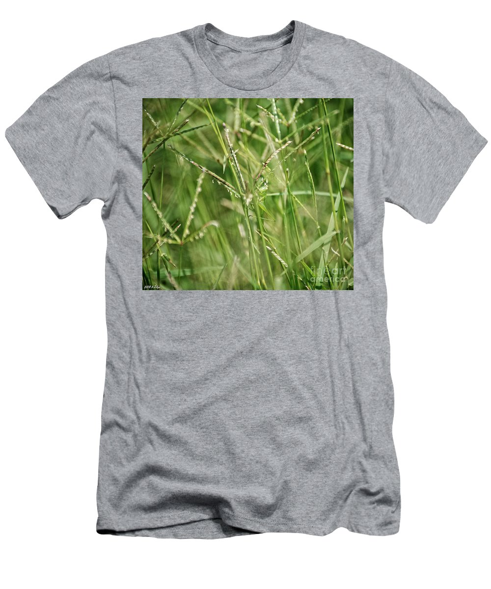 Grasshopper Men's T-Shirt (Athletic Fit) featuring the photograph 2008 Grasshopper In Green 'can You See Me...' by Arvydas Zilys
