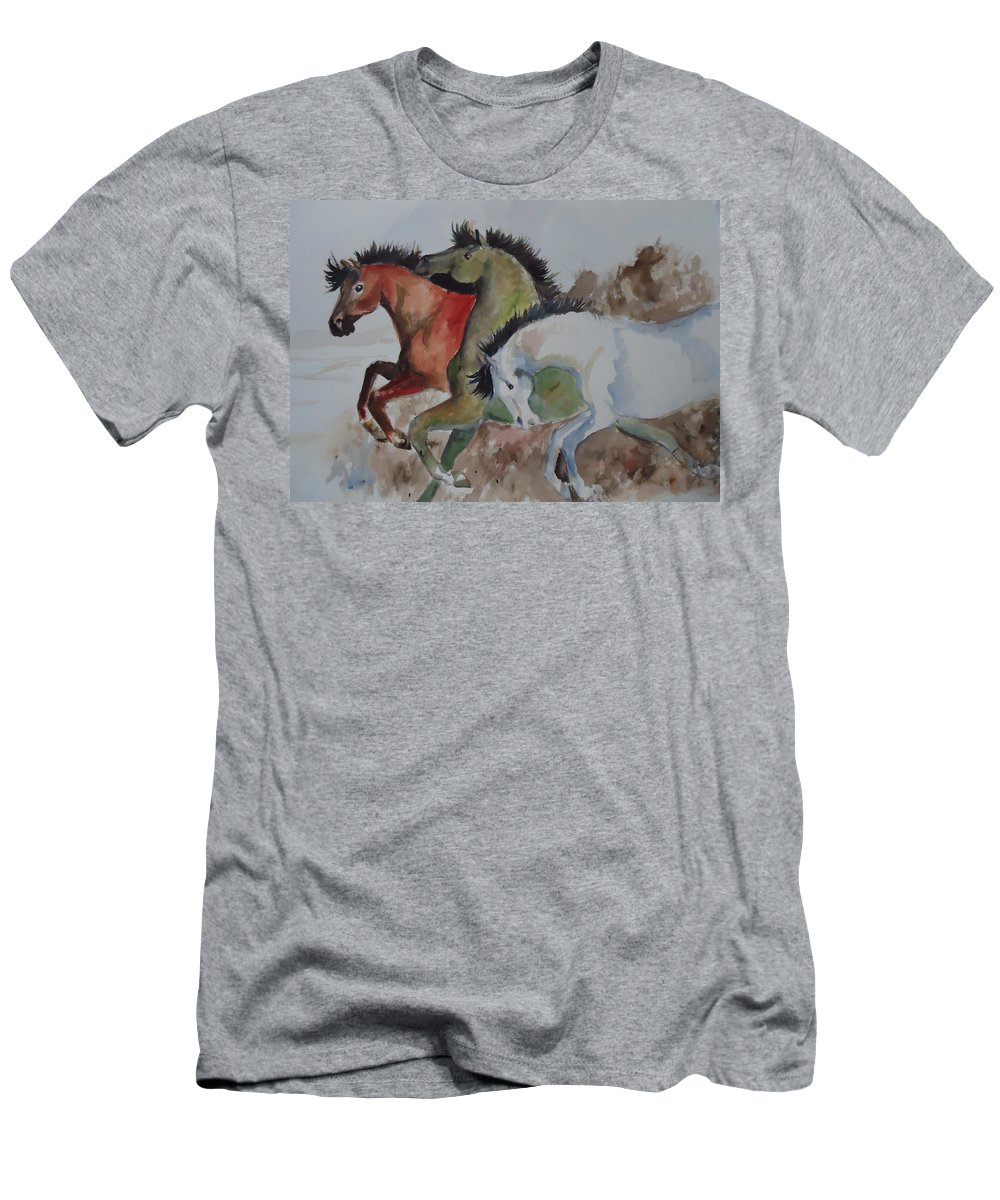 Horses Men's T-Shirt (Athletic Fit) featuring the painting 3 Amigos by Charme Curtin