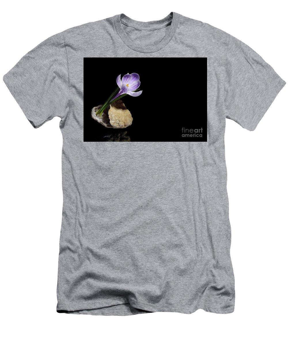 Crocus Men's T-Shirt (Athletic Fit) featuring the photograph Crocus Flower In Quartz Geode by Stela Knezevic