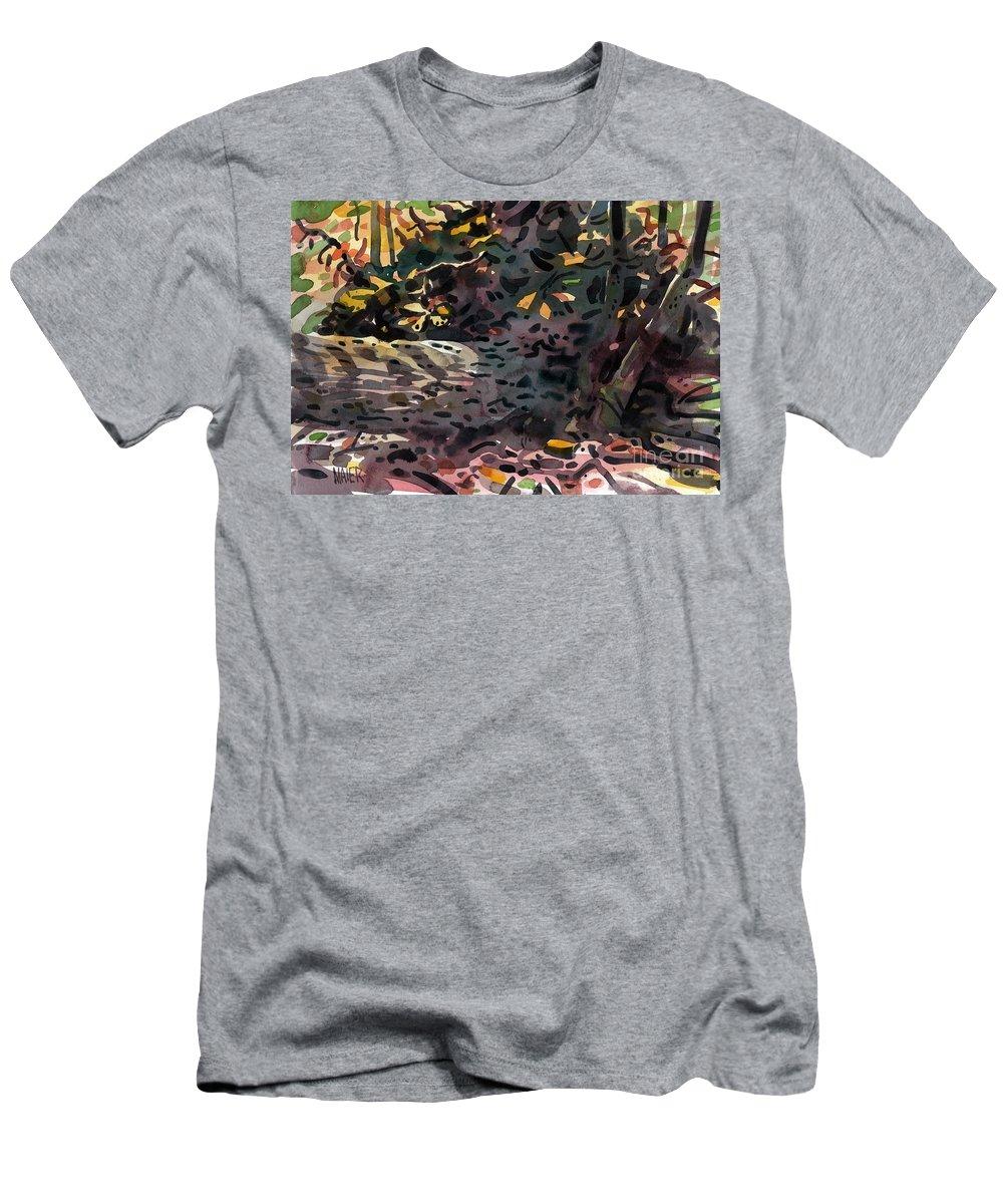 Oak Men's T-Shirt (Athletic Fit) featuring the painting Fallen Oak by Donald Maier