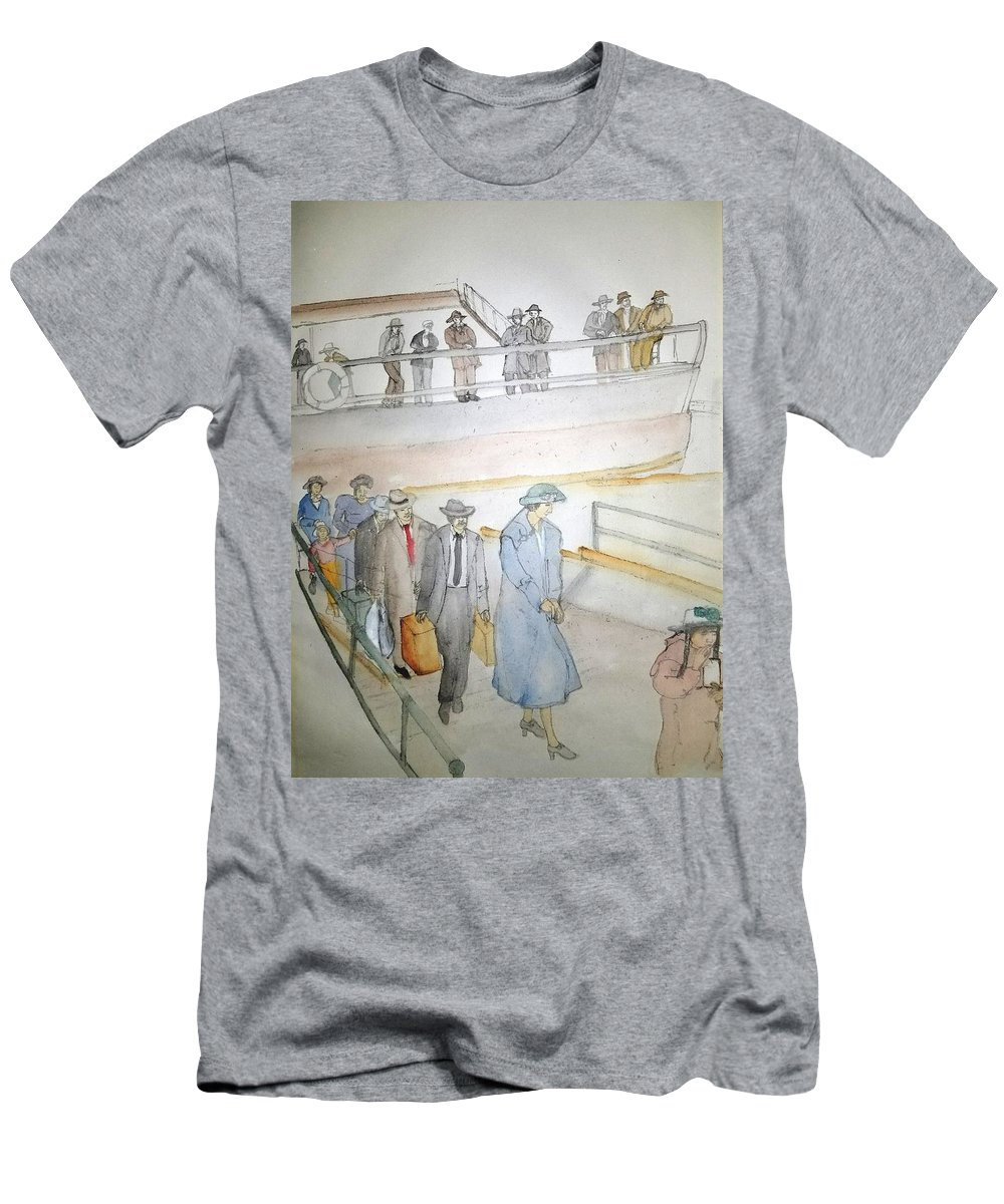 Italian. Immigrants. Arrive. Ellis Island Men's T-Shirt (Athletic Fit) featuring the painting Italians Ellis Island Prohibition Album by Debbi Saccomanno Chan