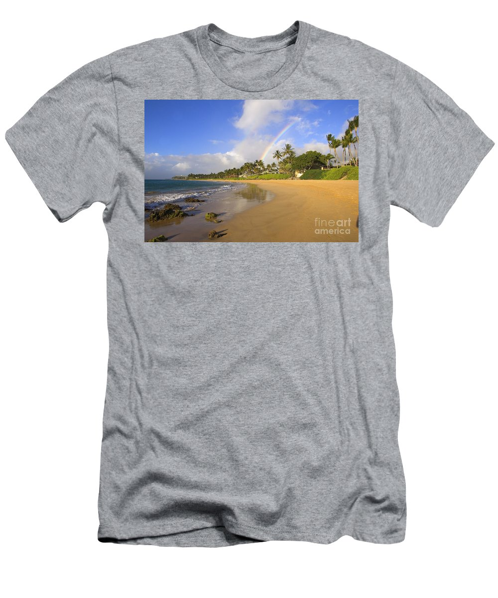 Afternoon Men's T-Shirt (Athletic Fit) featuring the photograph Keawakapu Beach by Ron Dahlquist - Printscapes