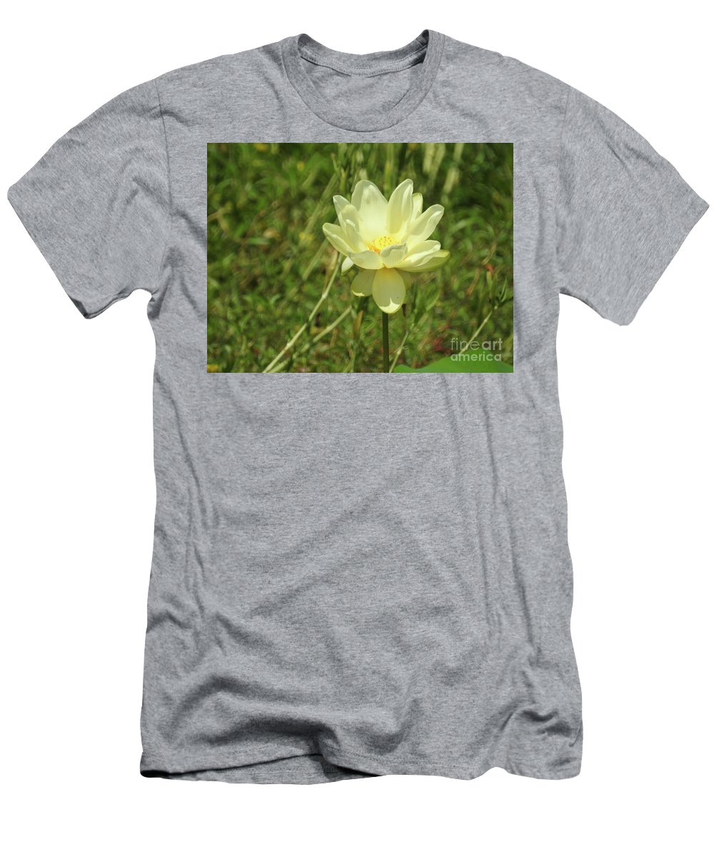 Lotus Flower In Bloom Prints Men's T-Shirt (Athletic Fit) featuring the photograph Lotus Flower In Bloom by Ruth Housley