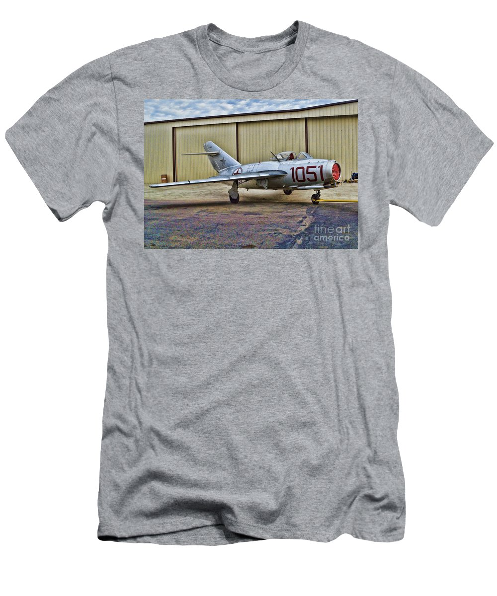 Fighter Pilots Men's T-Shirt (Athletic Fit) featuring the photograph Mikoyan-gurevich Mig-15 by Tommy Anderson