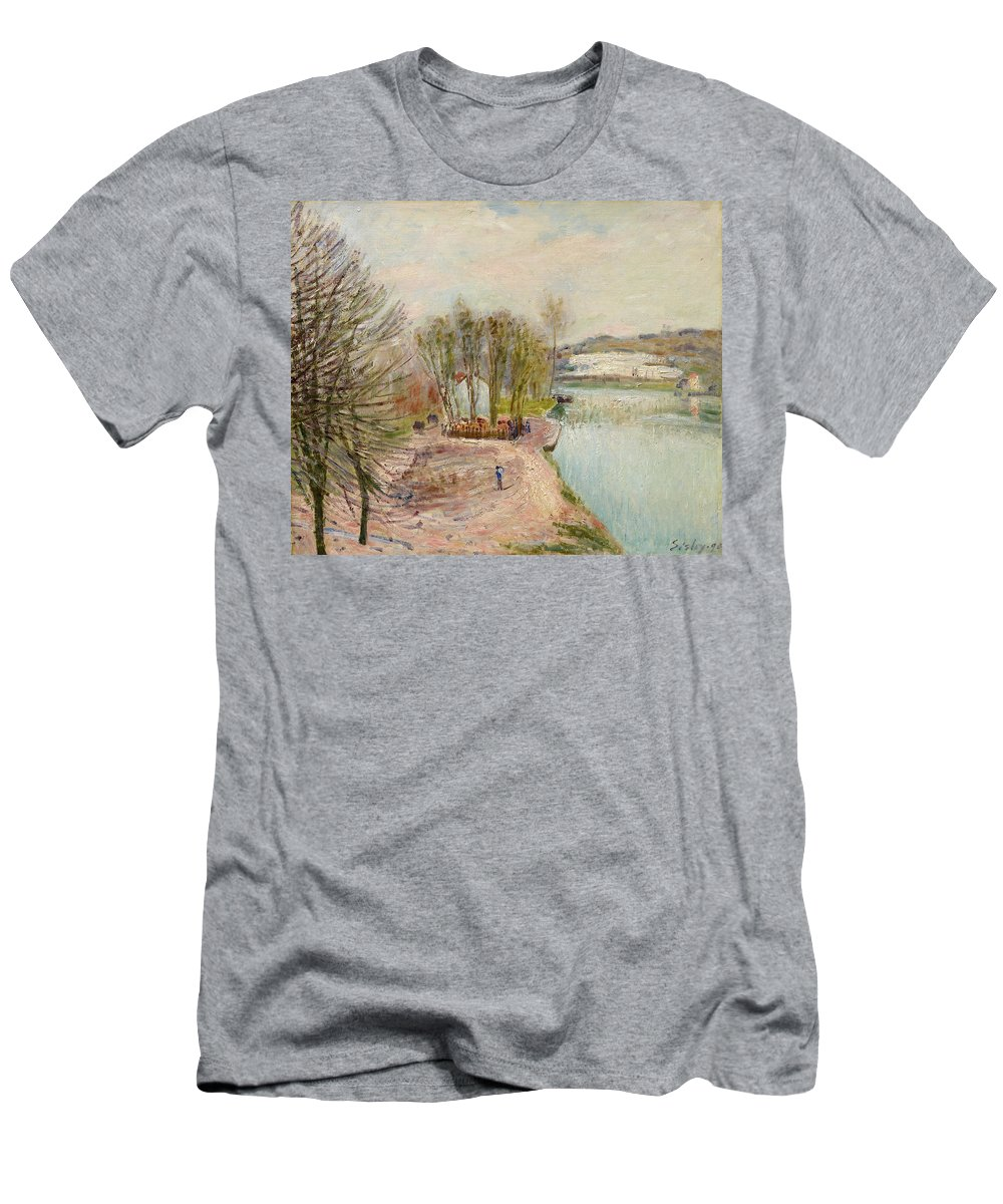 Alfred Sisley Men's T-Shirt (Athletic Fit) featuring the painting Moret-sur-loing by Alfred Sisley