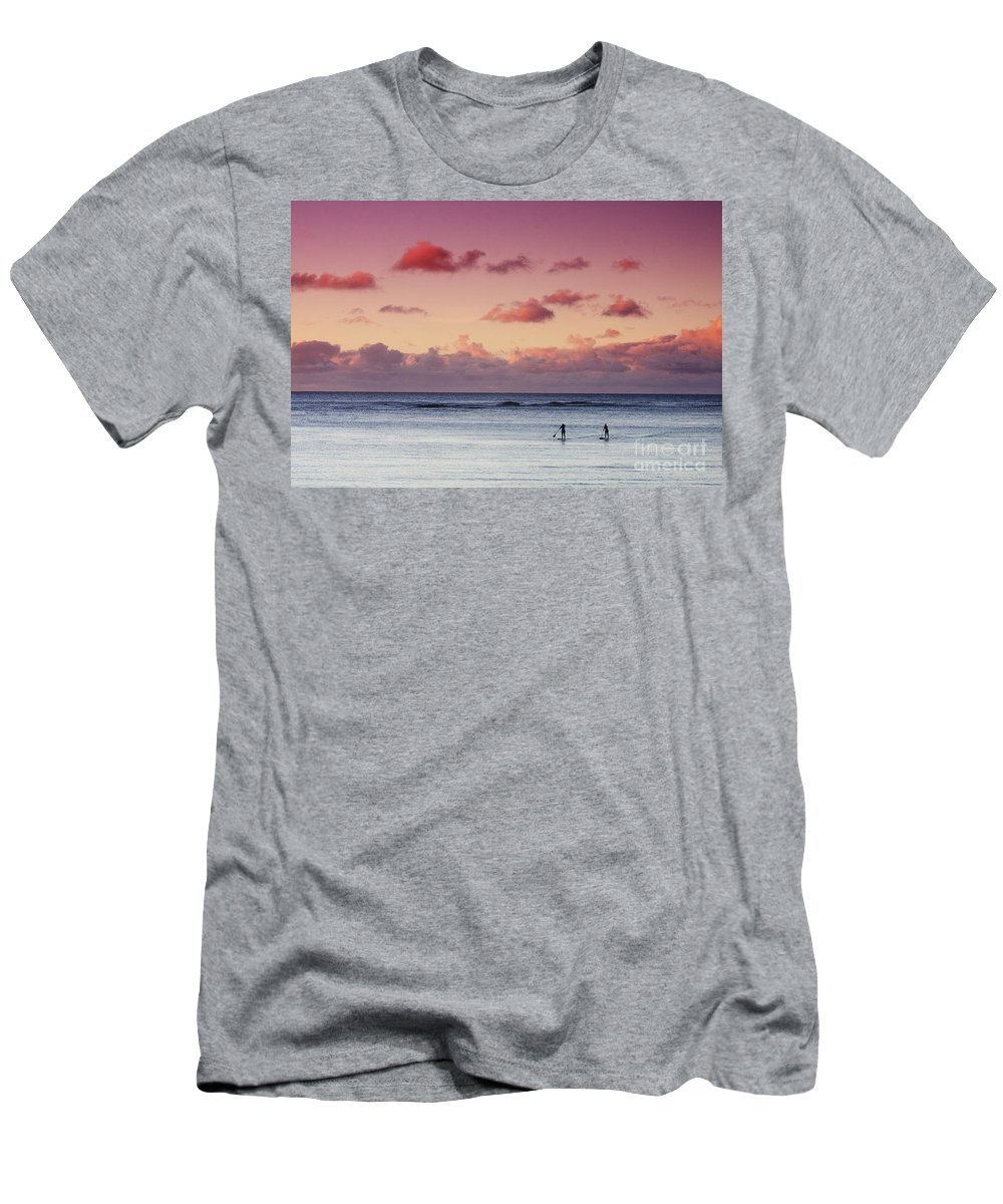 Adrenaline Men's T-Shirt (Athletic Fit) featuring the photograph Paddlers At Sunset by Vince Cavataio - Printscapes