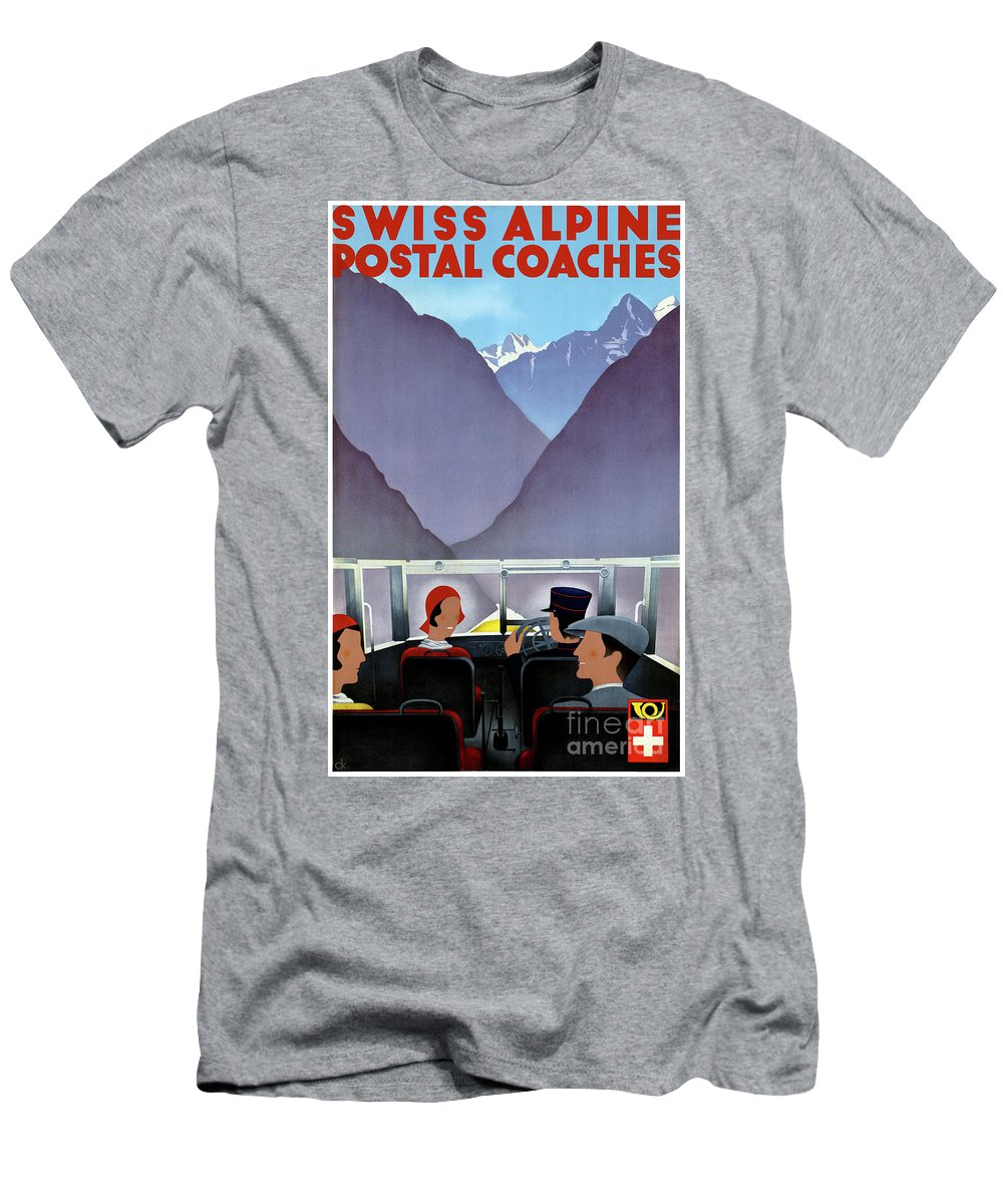 Travel Men's T-Shirt (Athletic Fit) featuring the mixed media Switzerland Vintage Travel Poster Restored by Vintage Treasure