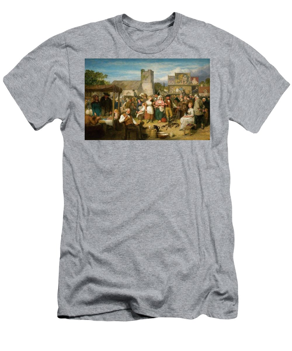 John Faed (1819-1902)-'the Statute Fair'-oil On Board Men's T-Shirt (Athletic Fit) featuring the painting The Statute Fair by John Faed
