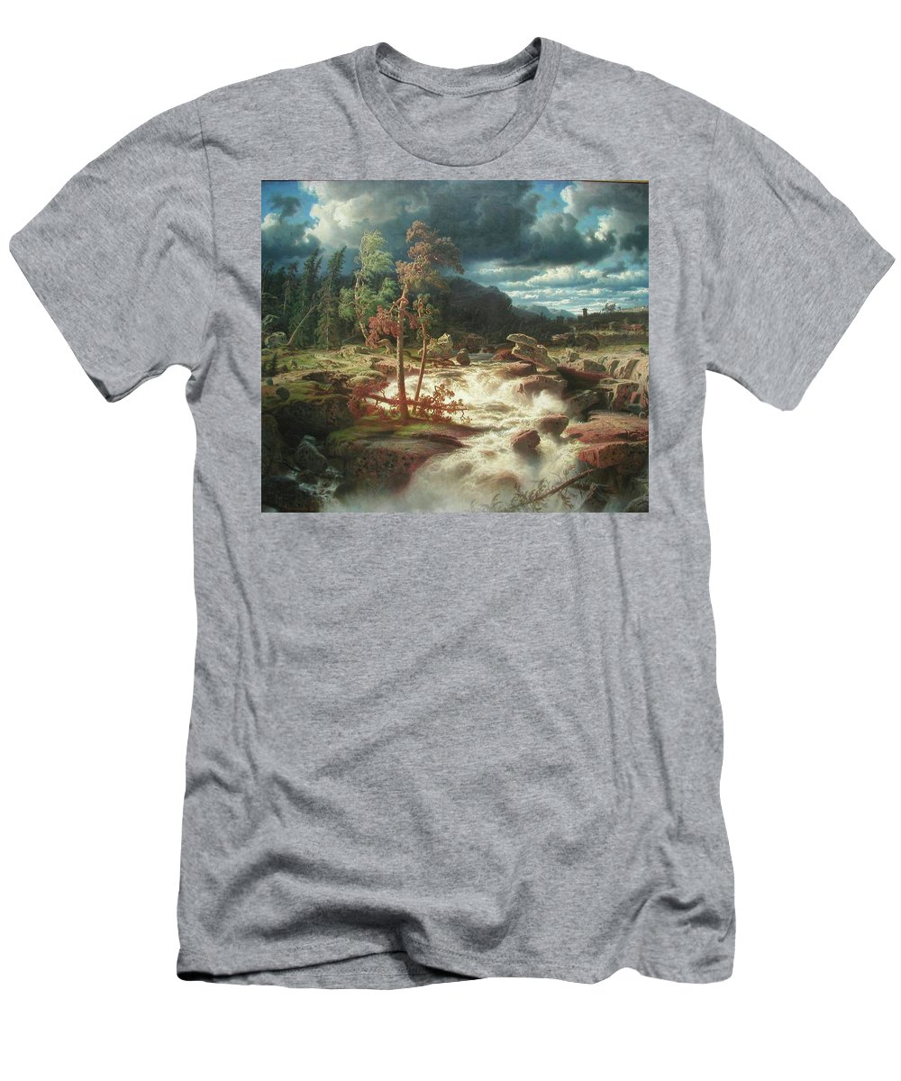Marcus Larson - Waterfall In Smaland - 1856. Trees Men's T-Shirt (Athletic Fit) featuring the painting Waterfall In Smaland by Marcus Larson
