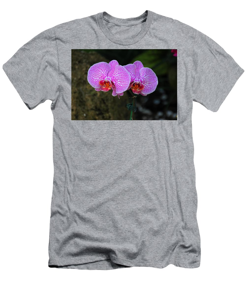 Orchid Men's T-Shirt (Athletic Fit) featuring the photograph Wild Whispers by Michiale Schneider