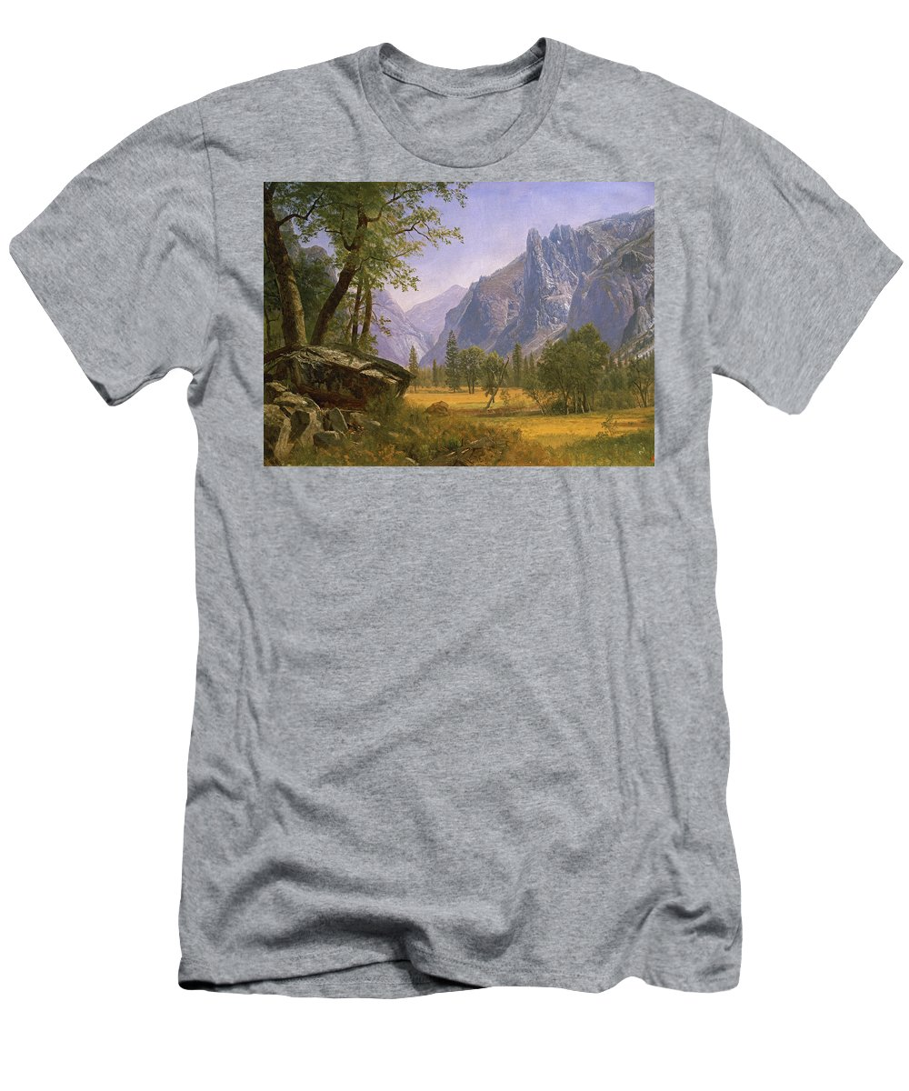 Albert Bierstadt Men's T-Shirt (Athletic Fit) featuring the painting Yosemite Valley by MotionAge Designs
