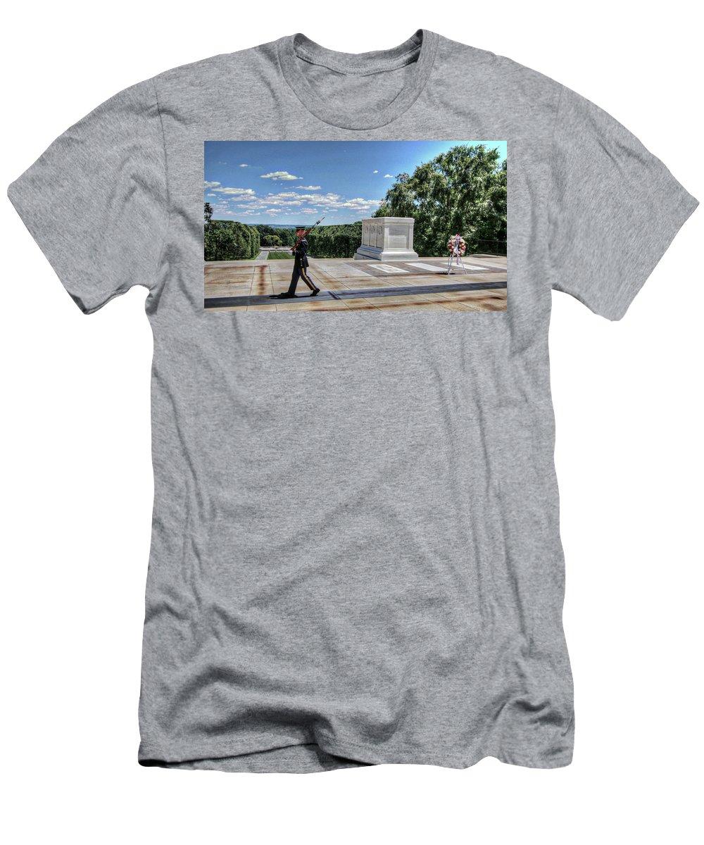 Arlington Cemetery Washington Dc Usa Men's T-Shirt (Athletic Fit) featuring the photograph Arlington Cemetery Washington Dc Usa by Paul James Bannerman