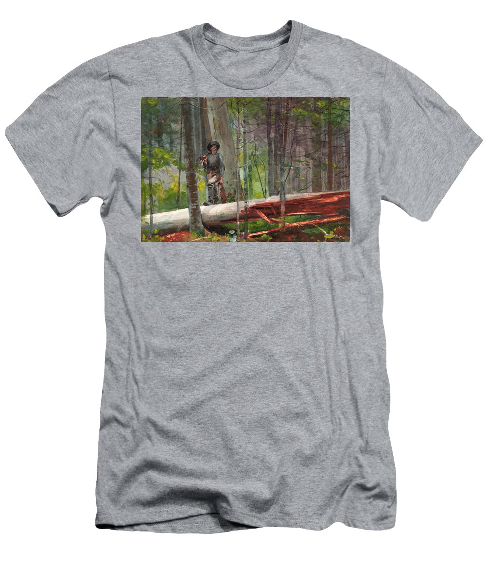 Hunter In The Adirondacks Men's T-Shirt (Athletic Fit) featuring the painting Hunter In The Adirondacks by Winslow Homer