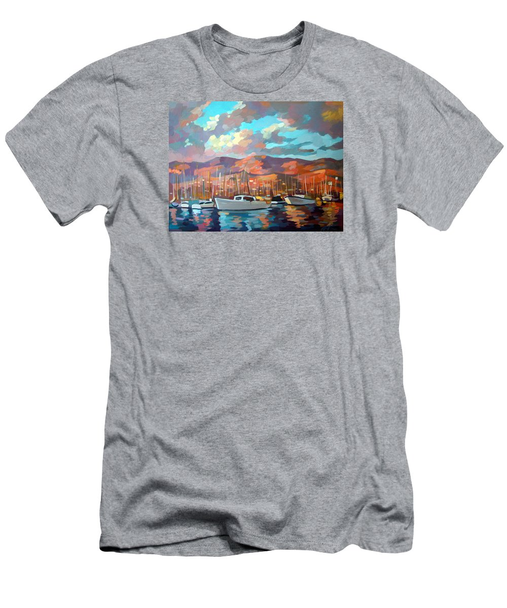 Boats Men's T-Shirt (Athletic Fit) featuring the painting Santa Barbara by Filip Mihail