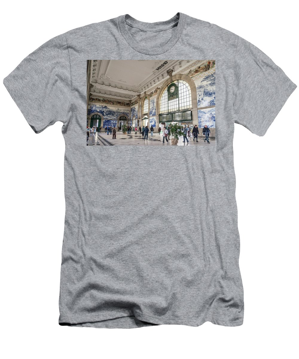 Architecture Men's T-Shirt (Athletic Fit) featuring the photograph Sao Bento Railway Station Landmark Interior In Porto Portugal by Jacek Malipan