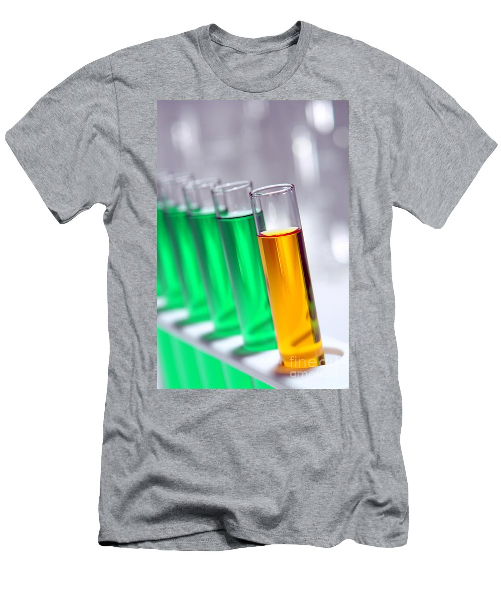 Chemistry Men's T-Shirt (Athletic Fit) featuring the photograph Test Tubes In Science Research Lab by Olivier Le Queinec