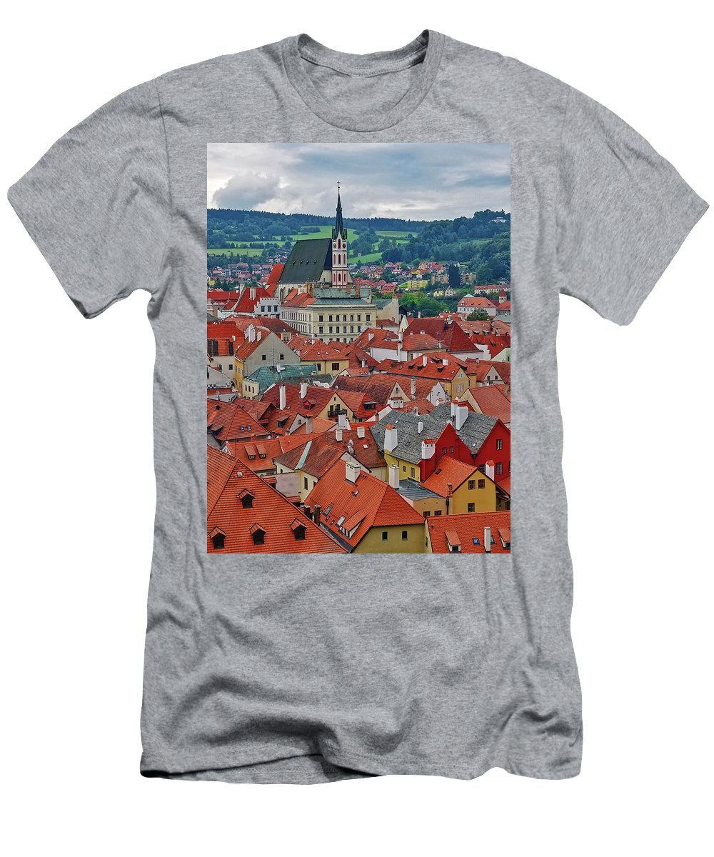 Cesky Krumlov Men's T-Shirt (Athletic Fit) featuring the photograph A View Of Cesky Krumlov In The Czech Republic by Richard Rosenshein