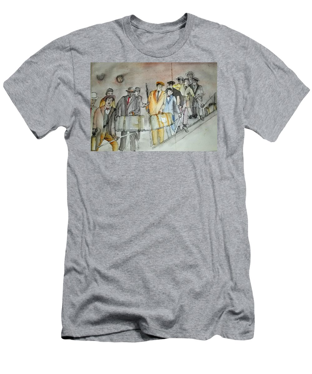 Italian. Immigrants. Arriving. Bocce Ball. Game.. 9nyc Men's T-Shirt (Athletic Fit) featuring the painting Italians Ellis Island Prohibition Album by Debbi Saccomanno Chan