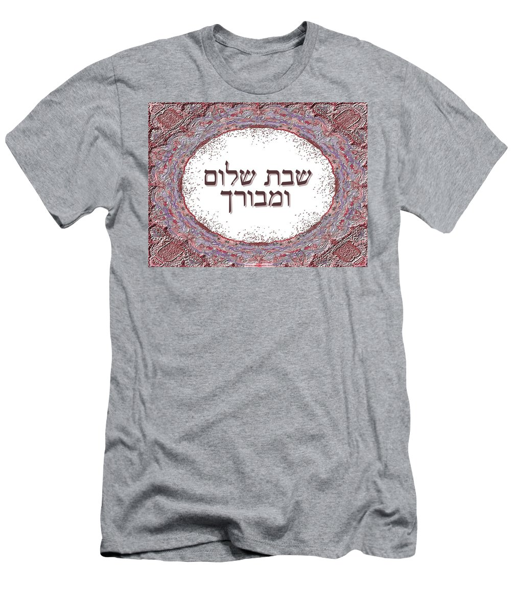 Shabat Shalom Men's T-Shirt (Athletic Fit) featuring the digital art Shabat And Holidays by Sandrine Kespi