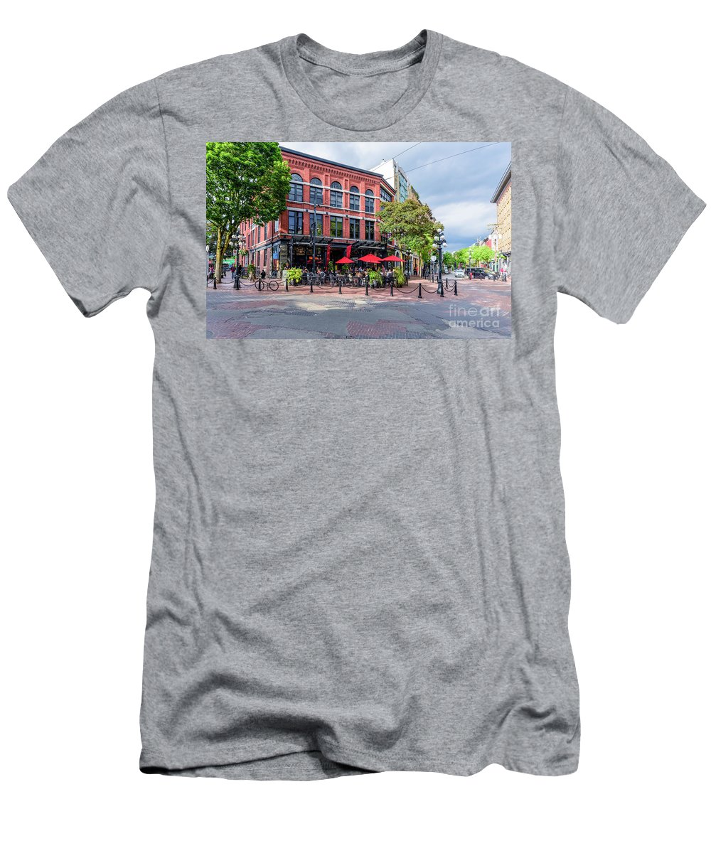 British Columbia; Vancouver; Vancouver Bc Men's T-Shirt (Athletic Fit) featuring the photograph Outdoor Cafe In Gastown, Vancouver, British Columbia, Canada by Viktor Birkus