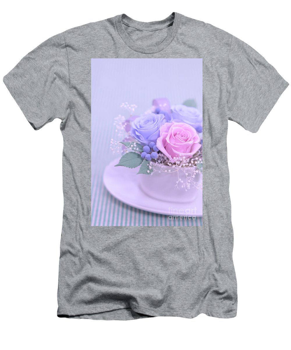 Valentine Men's T-Shirt (Athletic Fit) featuring the photograph A Gift Of Preservrd Flower And Clay Flower Arrangement, Blue And by Eiko Tsuchiya