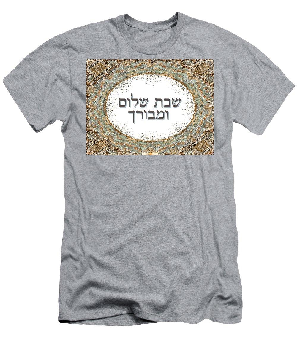 Shabat Shalom Men's T-Shirt (Athletic Fit) featuring the digital art Shabat And Holidays by Sandrine Kespi